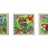 Arthouse Jungle Mania Wild Life - Set of 3 Canvases Multi-coloured Art