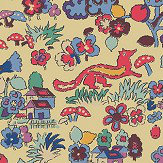 The Vintage Collection Mid Century Countryside Fox Yellow Wallpaper