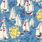 The Vintage Collection Mid Century Sailing Boats Mid Blue Wallpaper - Product code: MCWP/14018/2