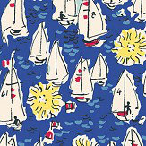The Vintage Collection Mid Century Sailing Boats Deep Blue Wallpaper