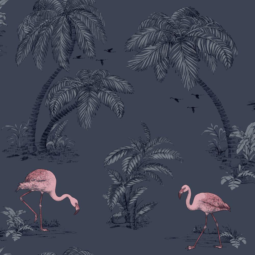 Albany Flamingo Lake Midnight Blue Wallpaper main image