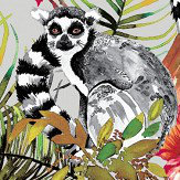 Albany Lemur Metallic Silver Wallpaper
