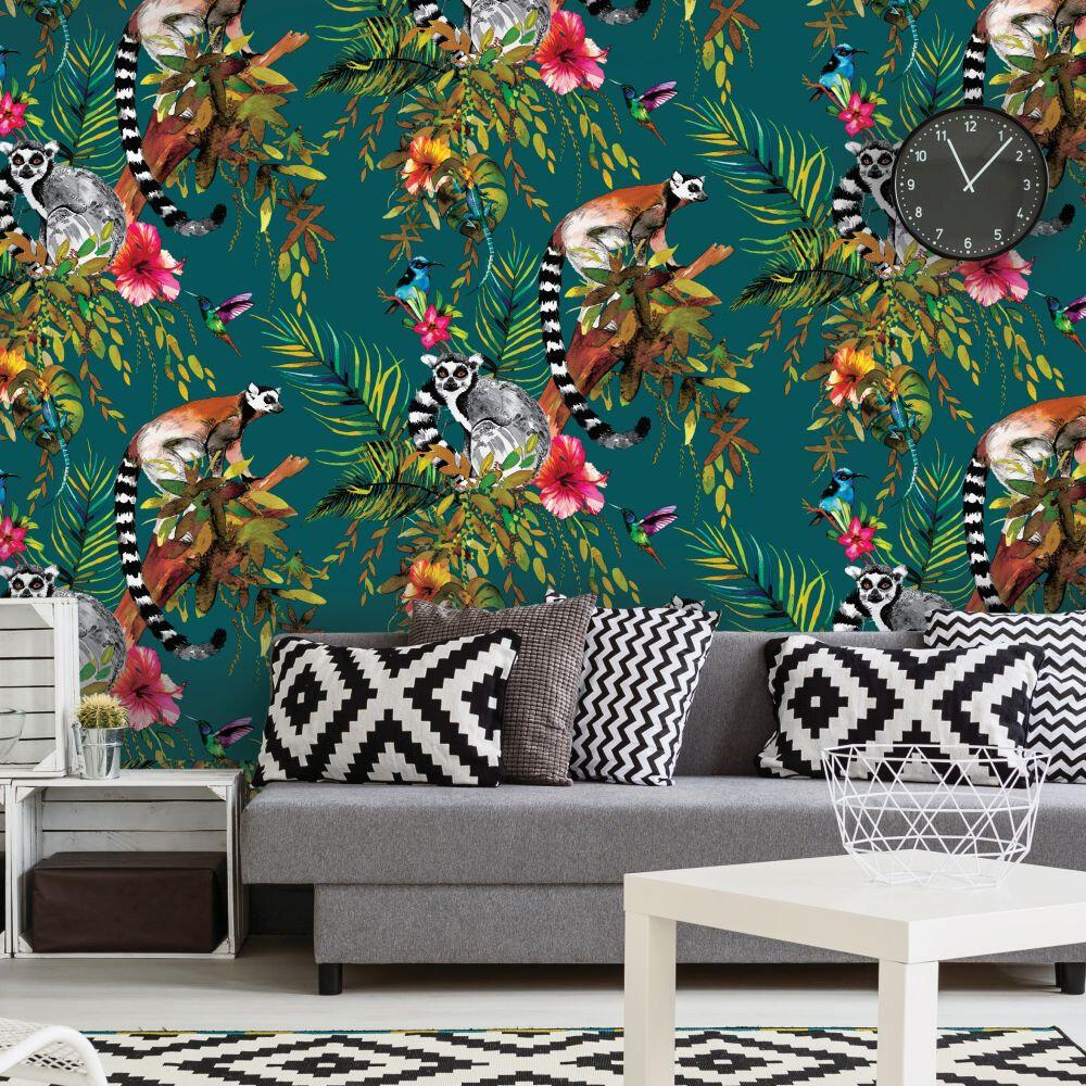 Lemur Wallpaper - Teal - by Albany