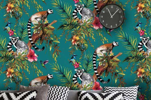 Albany Lemur Teal Wallpaper - Product code: 12402