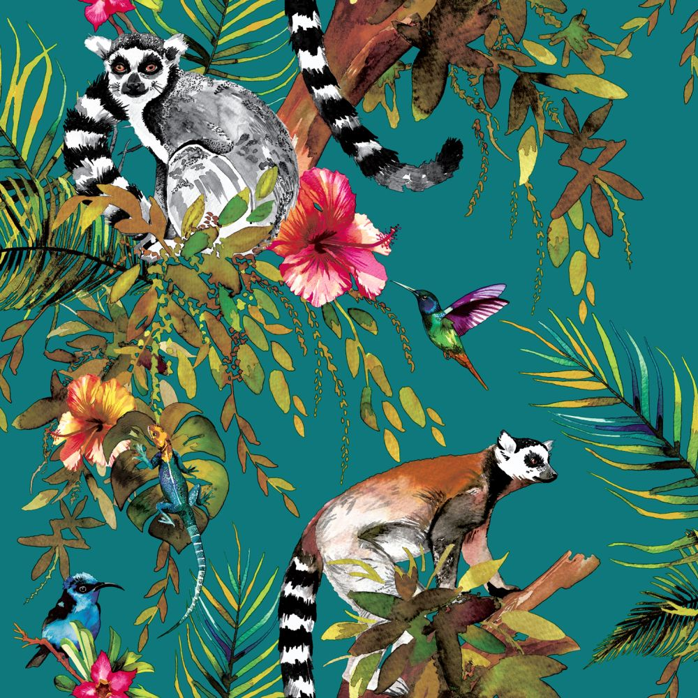 Albany Lemur Teal Wallpaper main image