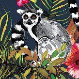 Albany Lemur Navy Wallpaper