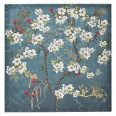 Arthouse Kyasha Blossom Foil Canvas Teal Blue Art