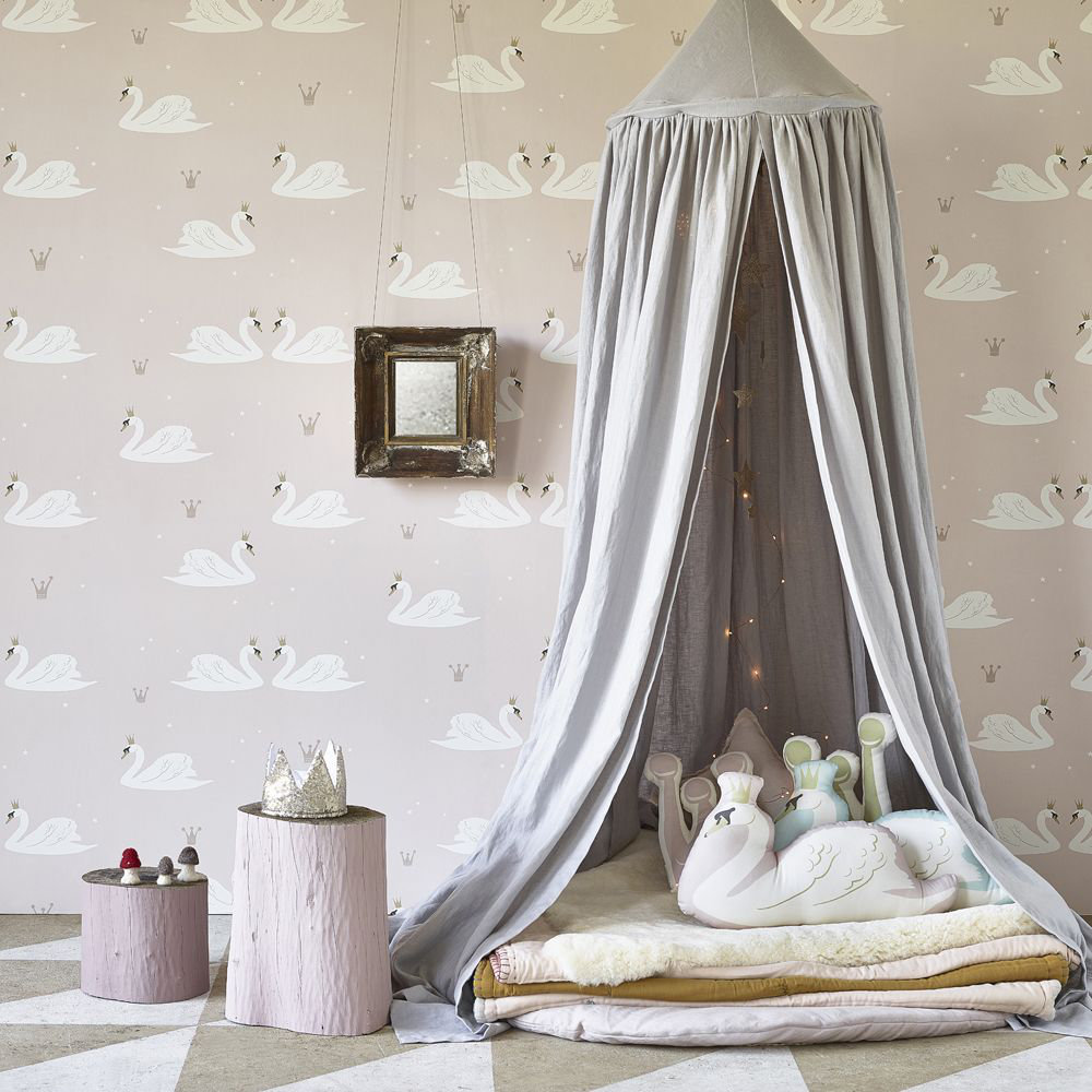 Swans Wallpaper - Pale Rose - by Hibou Home