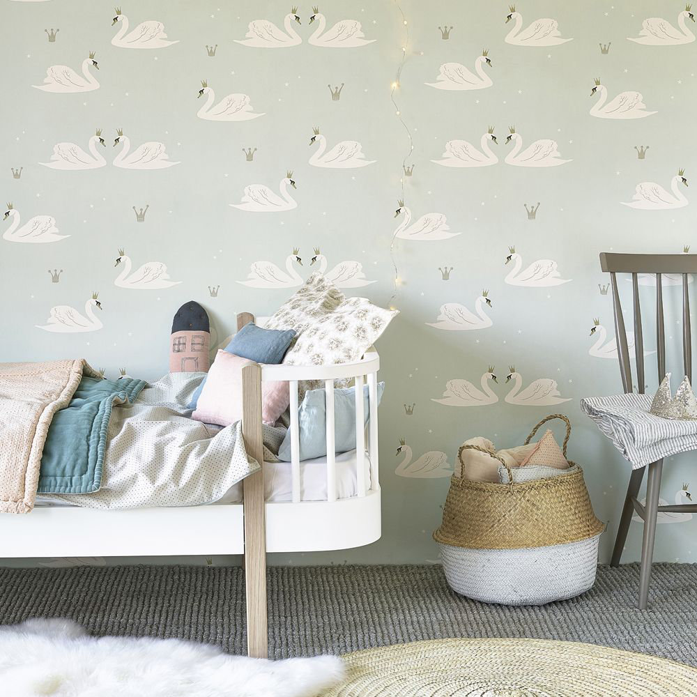 Hibou Home Swans  Mint Wallpaper - Product code: HH01302