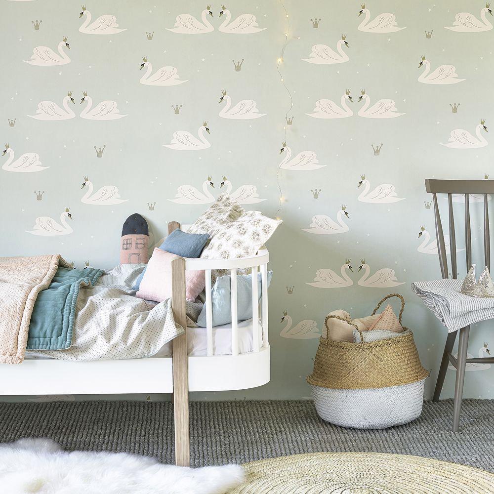 Swans  Wallpaper - Mint - by Hibou Home