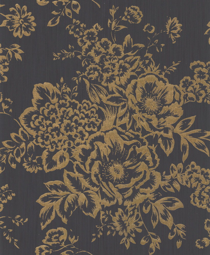 Architects Paper Foil Floral Black / Gold Wallpaper main image