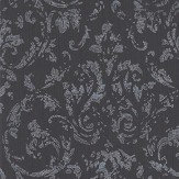Architects Paper Distressed Damask Black / Silver Wallpaper