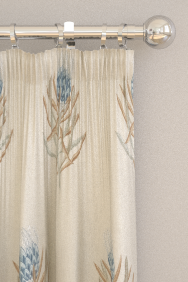 Protea Flower By Sanderson China Blue Linen Fabric