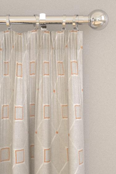 Sanderson Baroque Trellis Russet / Linen Curtains