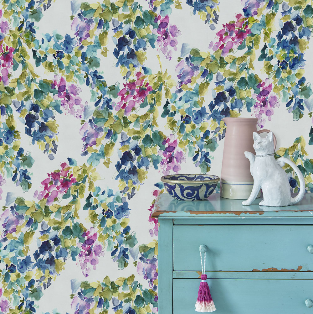 Catrin Set of 2 x 10m rolls Wallpaper - Multi-coloured - by bluebellgray