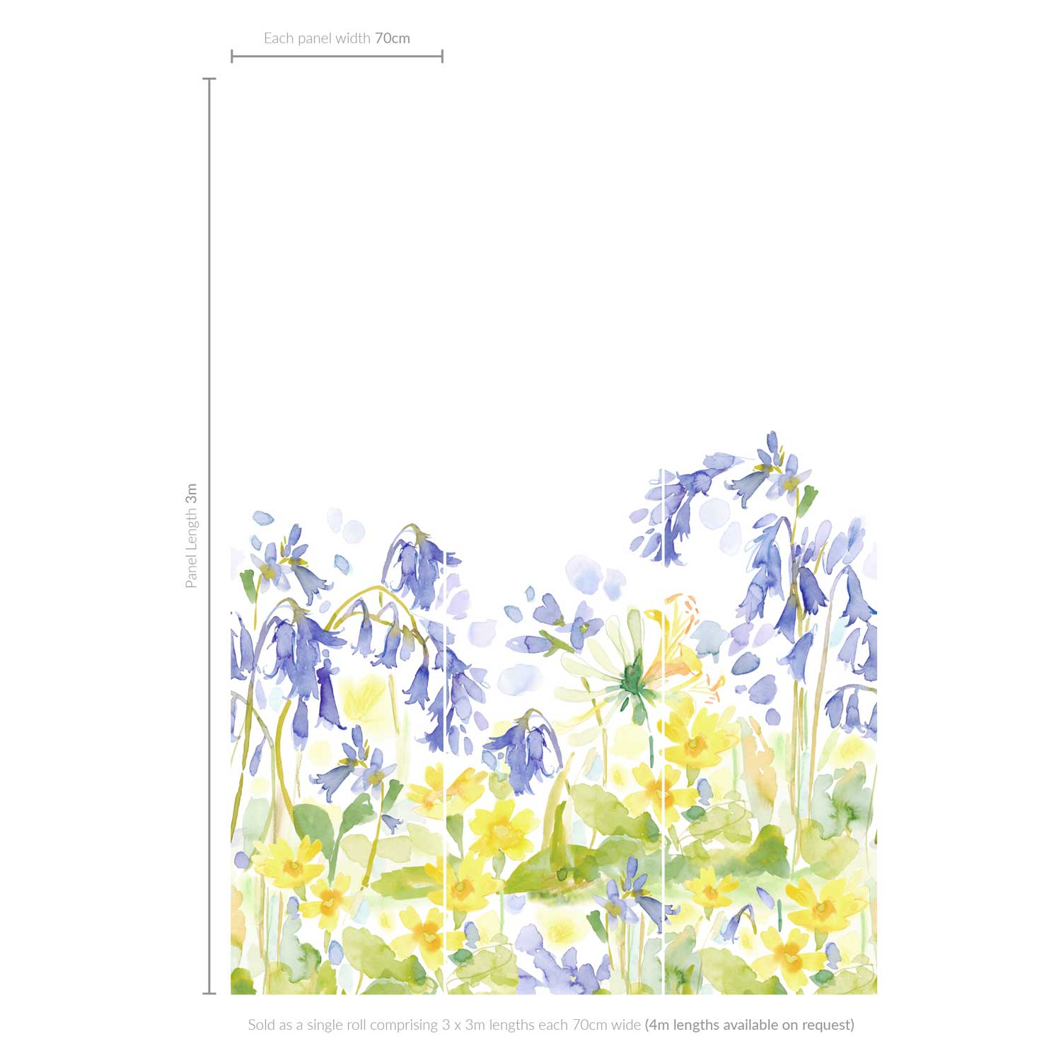 bluebellgray Bluebell Woods set of 3 x 3m panels Blue / Yellow Mural extra image