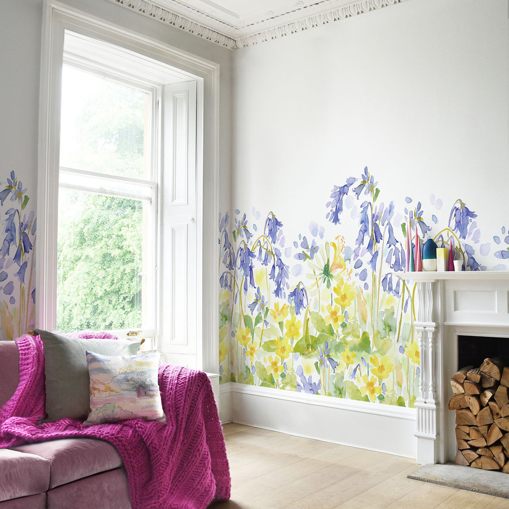 bluebellgray Bluebell Woods set of 3 x 3m panels Blue / Yellow Mural main image