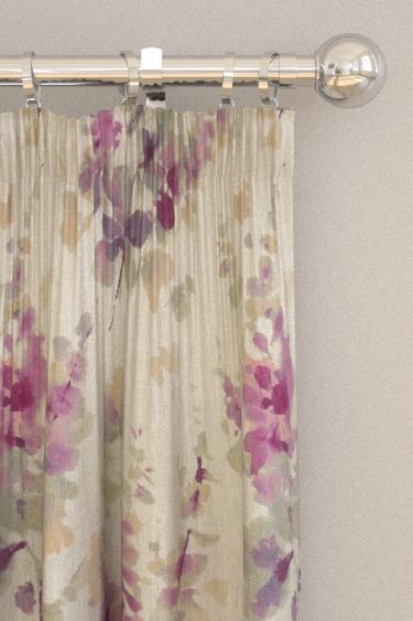 Sanderson Delphiniums Grape Curtains