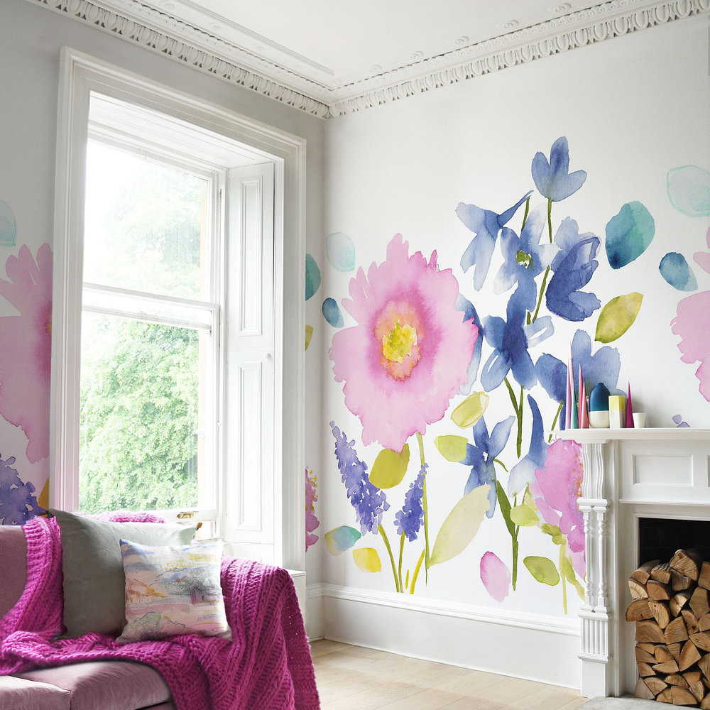bluebellgray Florrie Mural set of 4 x 3m panels Blue / Pink - Product code: WM007