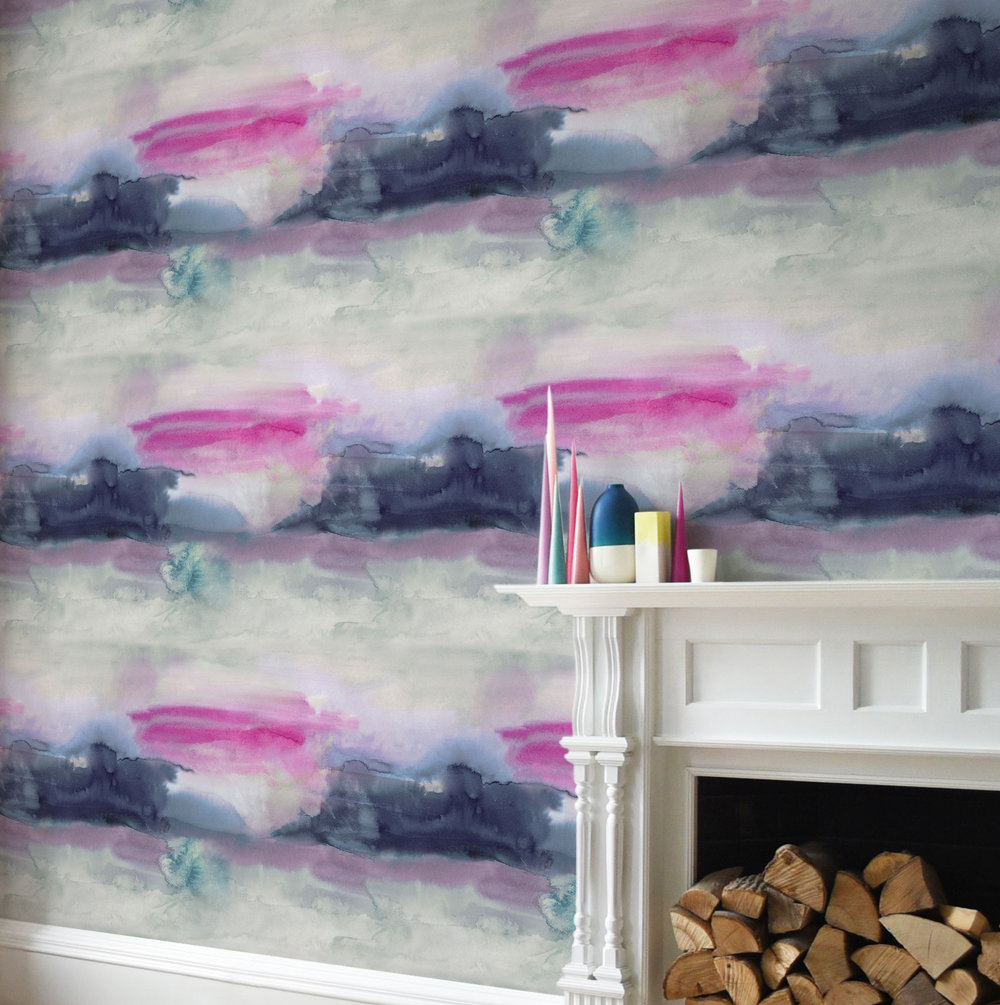Lewis Set of 2 x 10m rolls Wallpaper - Blue / Pink - by bluebellgray