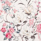 Sanderson Magnolia and Blossom Coral / Silver Fabric