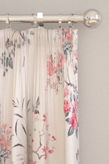 Magnolia And Blossom Curtains By Sanderson Coral Silver