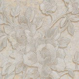 Roberto Cavalli Metallic Floral Trail Metallic Silver Wallpaper