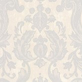 Roberto Cavalli Textured Damask Metallic Silver Wallpaper