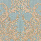Roberto Cavalli Textured Damask Blue Wallpaper