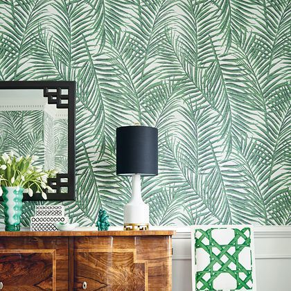Thibaut West Palm Emerald Green Wallpaper Extra Image