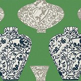 Thibaut Imari Vase Emerald Green Wallpaper
