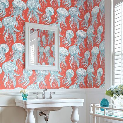 Thibaut Jellyfish Bloom Turquoise / Coral Wallpaper - Product code: T13172