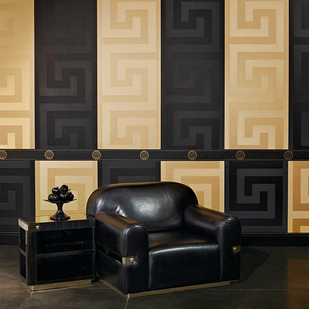 Large Greek Key Wallpaper - Gold - by Versace