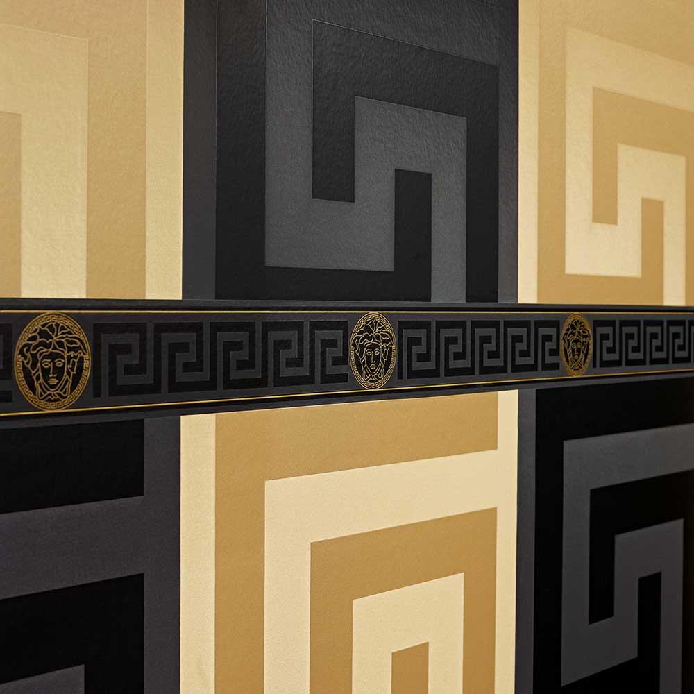 Large Greek Key Wallpaper - Black  - by Versace
