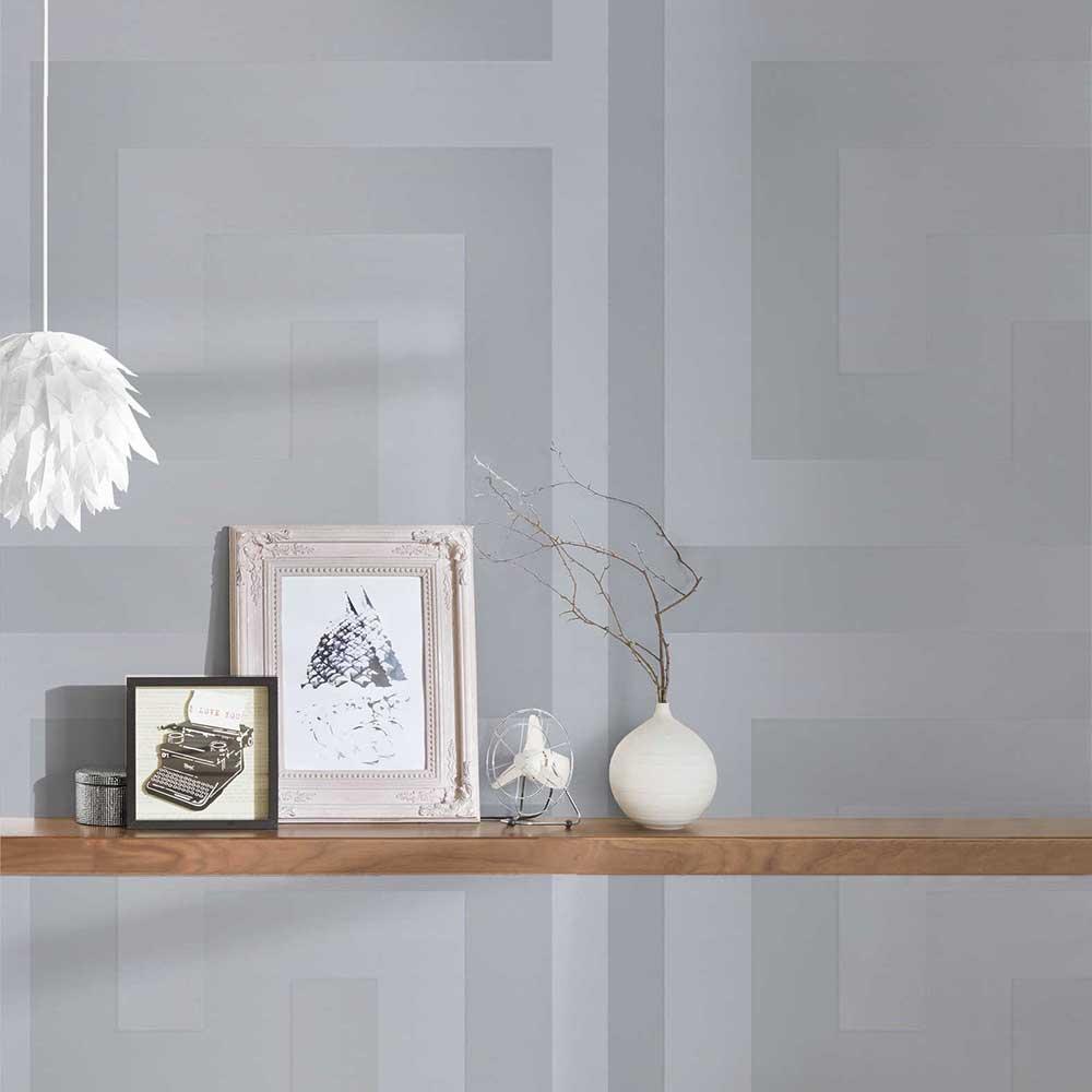 Large Greek Key Wallpaper - Silver - by Versace
