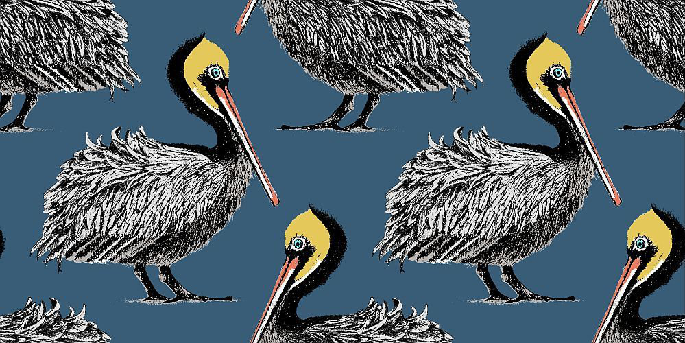 Petronella Hall Pelican Harbour Blue Wallpaper - Product code: P-WHB