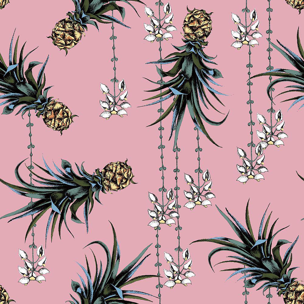 Petronella Hall Pineapples and Petals Flamingo Wallpaper main image