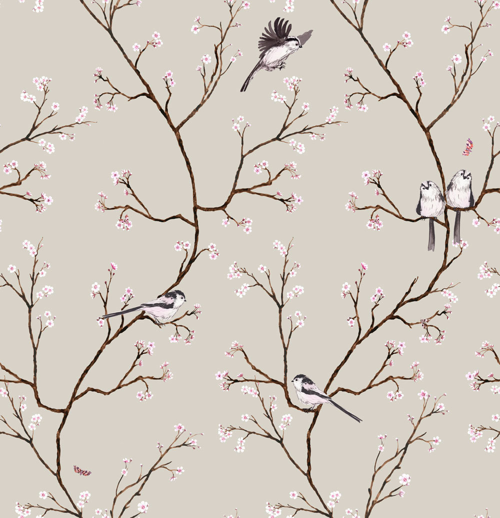 Petronella Hall Blossom Soft Beige Wallpaper - Product code: B-WB