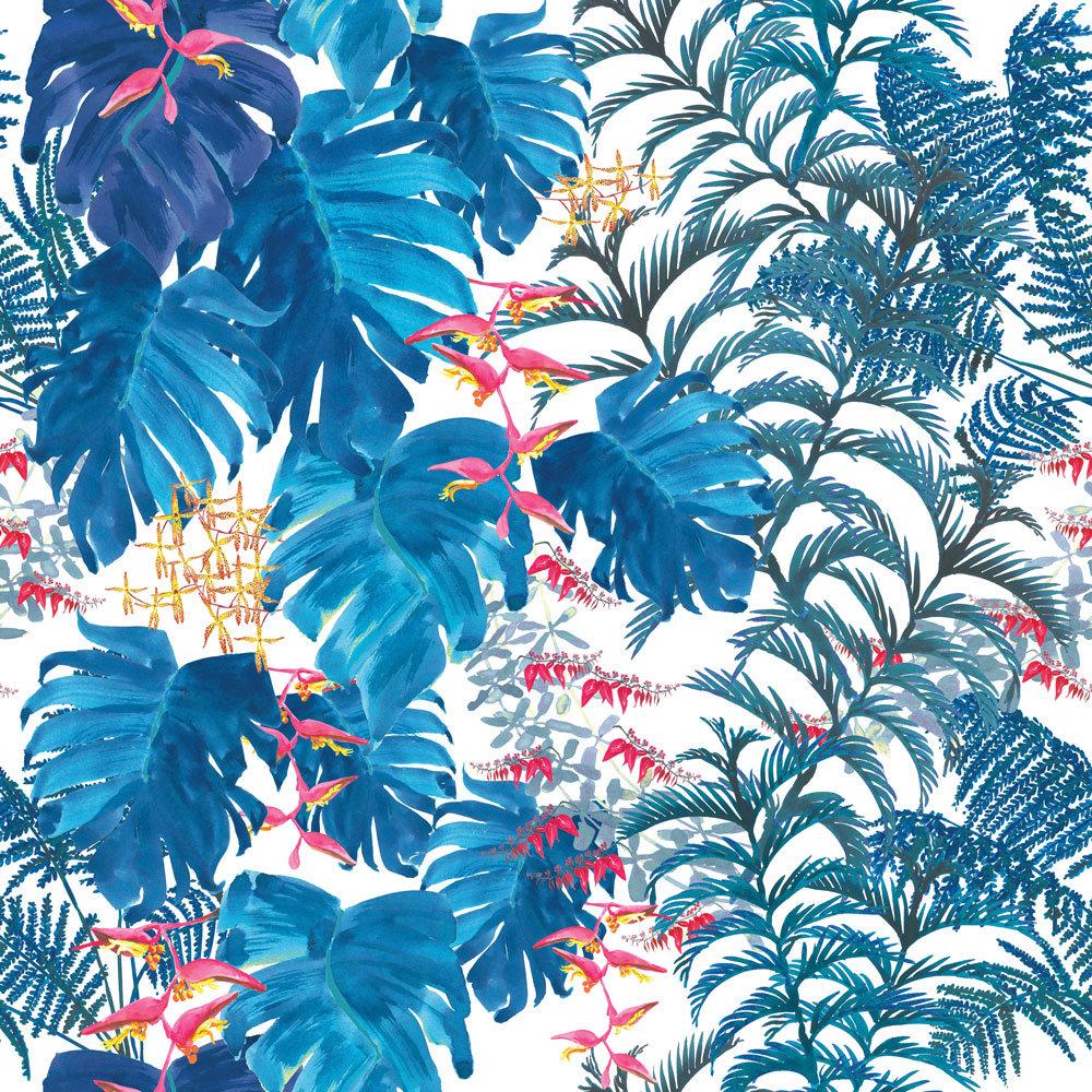 Petronella Hall Tropics Denim Wallpaper main image