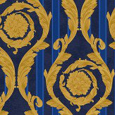Versace Barocco & Stripes Blue / Gold Wallpaper