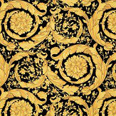 Versace Barocco Flowers Black  Wallpaper