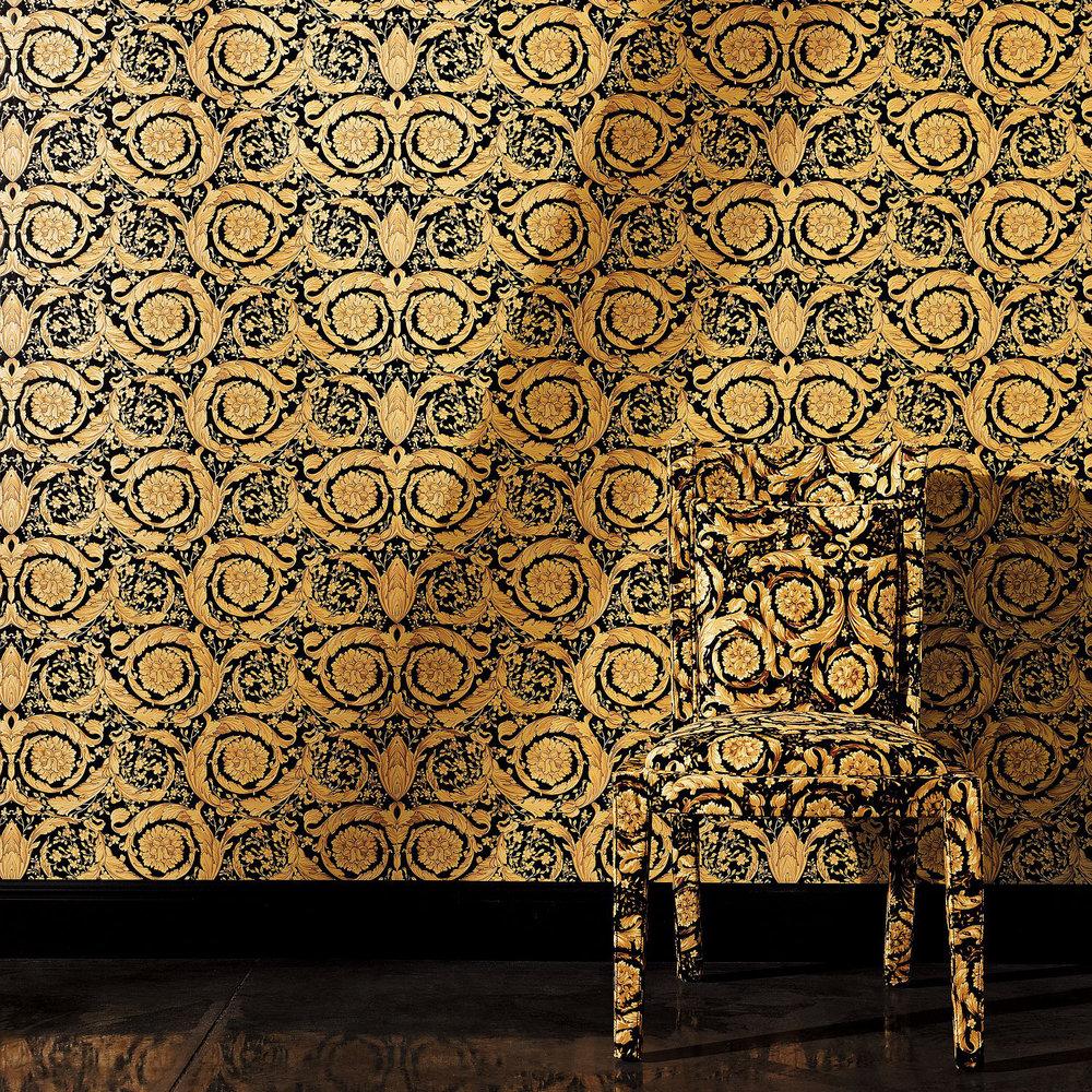 Versace Barocco Flowers Black Wallpaper Extra Image