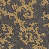Versace Baroque & Roll Gold / Charcoal Wallpaper