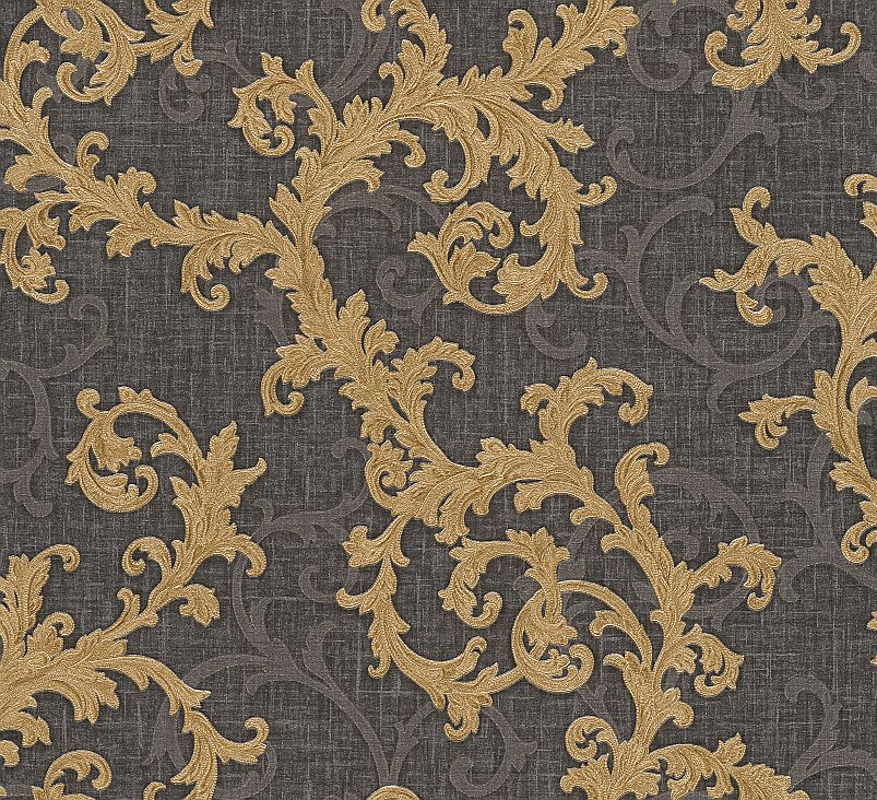 Versace Baroque Roll Gold Charcoal Wallpaper Main Image