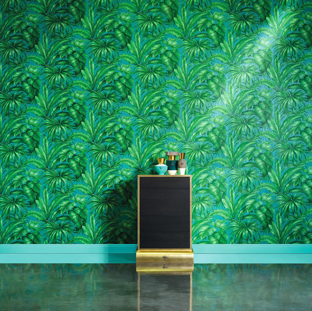 Versace Giungla Green / Teal Wallpaper extra image