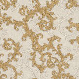 Versace Baroque & Roll Gold / White Wallpaper