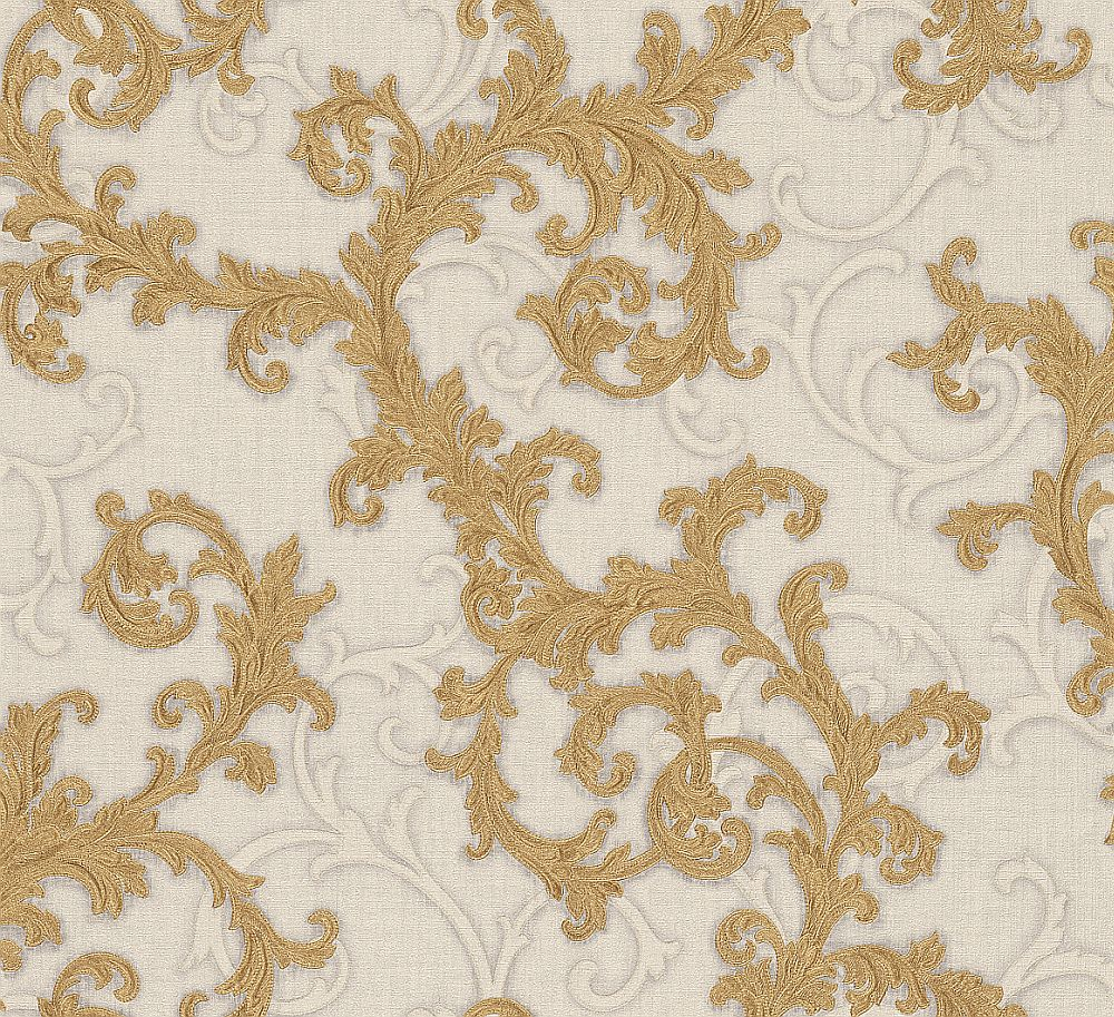 Versace Baroque Roll Gold White Wallpaper Main Image