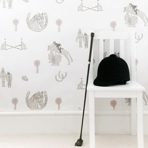 Horse Tales Wallpaper - White / Grey / Pink - by Katie Bourne Interiors