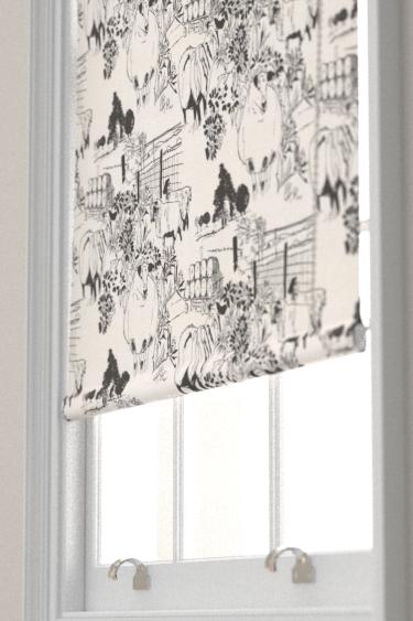 Belynda Sharples Linen Union Sheep 01 Black / White Blind - Product code: BS-LU-SHE-01