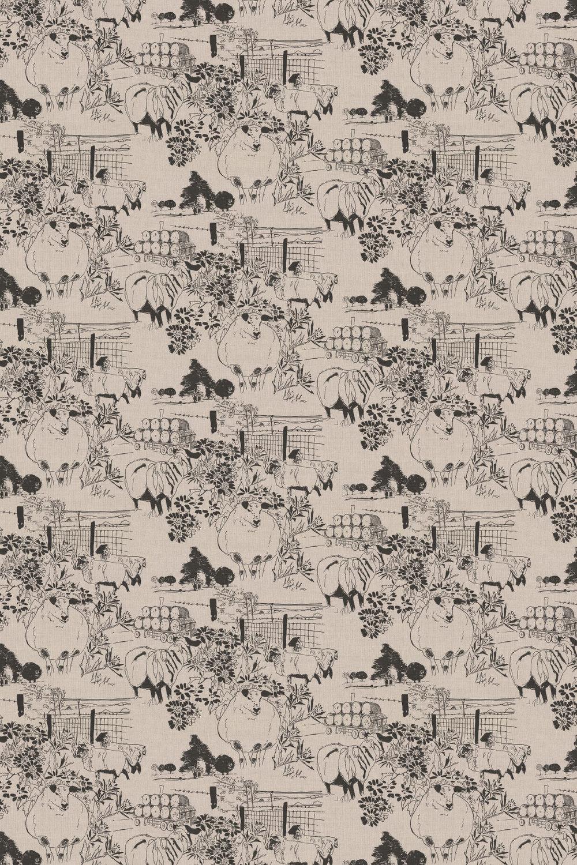 Linen Union Sheep 02 Fabric - Black / Linen - by Belynda Sharples